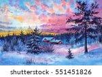 watercolor painting of winter | Shutterstock . vector #551451826