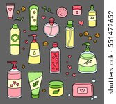 collection of hand drawn beauty ... | Shutterstock .eps vector #551472652