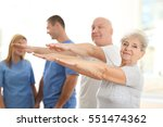 elderly patients training in... | Shutterstock . vector #551474362