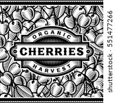 retro cherry harvest label... | Shutterstock .eps vector #551477266