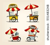 vector cartoon street food cart ... | Shutterstock .eps vector #551483248