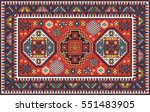 colorful oriental mosaic kazak... | Shutterstock .eps vector #551483905