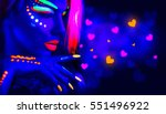 valentine's day girl on disco... | Shutterstock . vector #551496922