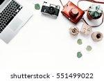 office table desk. laptop ... | Shutterstock . vector #551499022