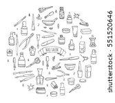 hand drawn doodle nail salon... | Shutterstock .eps vector #551520646