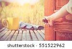 women hand open door knob or... | Shutterstock . vector #551522962
