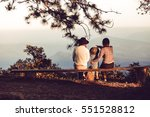 family sitting benches views. | Shutterstock . vector #551528812