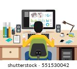 person working on computer... | Shutterstock .eps vector #551530042