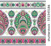 indian floral paisley medallion ... | Shutterstock .eps vector #551545186