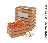 wooden box full of apple... | Shutterstock .eps vector #551548156