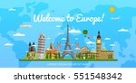 welcome to europe poster with... | Shutterstock .eps vector #551548342