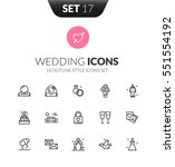 outline black icons set in thin ... | Shutterstock .eps vector #551554192