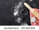 baking background with flour ... | Shutterstock . vector #551581306