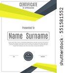 vector certificate template. | Shutterstock .eps vector #551581552