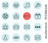 set of 16 holiday icons.... | Shutterstock .eps vector #551586166