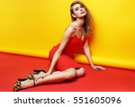 fashion portrait of young... | Shutterstock . vector #551605096