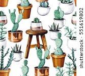 watercolor cactus desert... | Shutterstock . vector #551619802