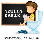 toilet break with boy reading...   Shutterstock .eps vector #551623102