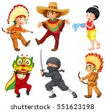 kids in different traditional... | Shutterstock .eps vector #551623198