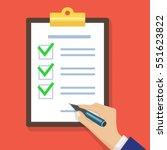 hand filling checklist on... | Shutterstock .eps vector #551623822