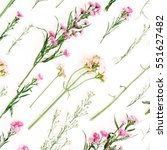 floral pattern with pink and... | Shutterstock . vector #551627482