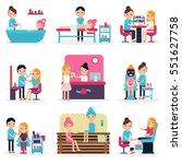 beauty salon people flat...   Shutterstock .eps vector #551627758