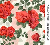 seamless vintage pattern with... | Shutterstock .eps vector #551629492
