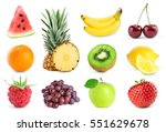 collection of fruits on white... | Shutterstock . vector #551629678
