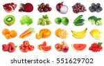 collection of fruits and... | Shutterstock . vector #551629702