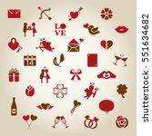 valentine vintage icon set | Shutterstock .eps vector #551634682