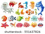 different kinds of sea animals... | Shutterstock .eps vector #551637826