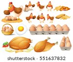 chicken and different types of... | Shutterstock .eps vector #551637832