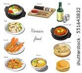 korean cuisine set. collection... | Shutterstock .eps vector #551643832