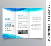 blue wave trifold brochure... | Shutterstock .eps vector #551653492