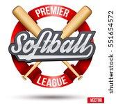 softball circle label. ribbon... | Shutterstock .eps vector #551654572