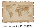 old map on paper scroll with... | Shutterstock .eps vector #551654776