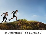 trail runner of men and women... | Shutterstock . vector #551675152