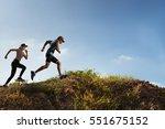 trail runner of men and women... | Shutterstock . vector #551675152