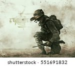 us soldier in the desert during ... | Shutterstock . vector #551691832