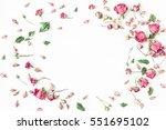 flowers composition. frame made ... | Shutterstock . vector #551695102