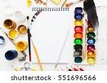 creative artist workplace flat... | Shutterstock . vector #551696566