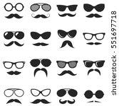 set of black hipster mustache... | Shutterstock .eps vector #551697718