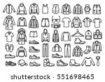 Stock vector set of man clothes icons thin line style 551698465