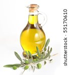 branch with olives and a bottle ... | Shutterstock . vector #55170610