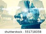 double exposure of success... | Shutterstock . vector #551718358