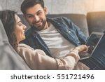 joyful husband and wife... | Shutterstock . vector #551721496