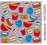 fast food pattern doodle vector | Shutterstock .eps vector #551721592