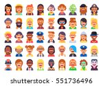 Super set of 45 cool flat avatars icons. Positive male and female characters different ages, professions and nationalities. Funny bright vector illustrations. | Shutterstock vector #551736496