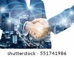 double exposure of handshake... | Shutterstock . vector #551741986