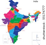 map of the republic of india... | Shutterstock .eps vector #55174777